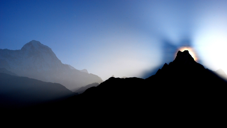 """fishtail"" sunrise from annapurna sanctuary, nepal"